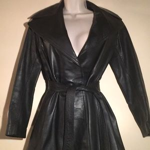 Leather King belted leather jacket - size 6